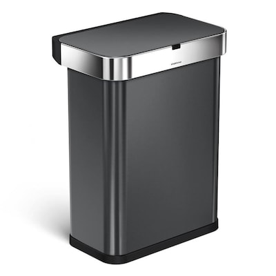 Rectangular 58-Liter Black Stainless Steel Touchless Trash Can with Lid