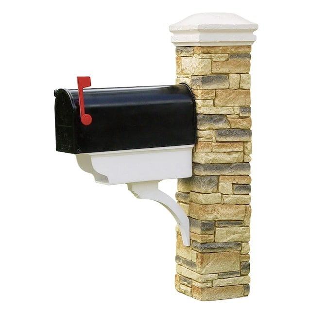 Eye Level Stacked Stone Beige Mailbox Post In The Mailbox Posts Department At Lowes Com