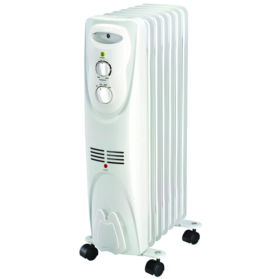 Shop utilitech 5 200 btu oil filled radiant tower electric for Electric radiant heat thermostat