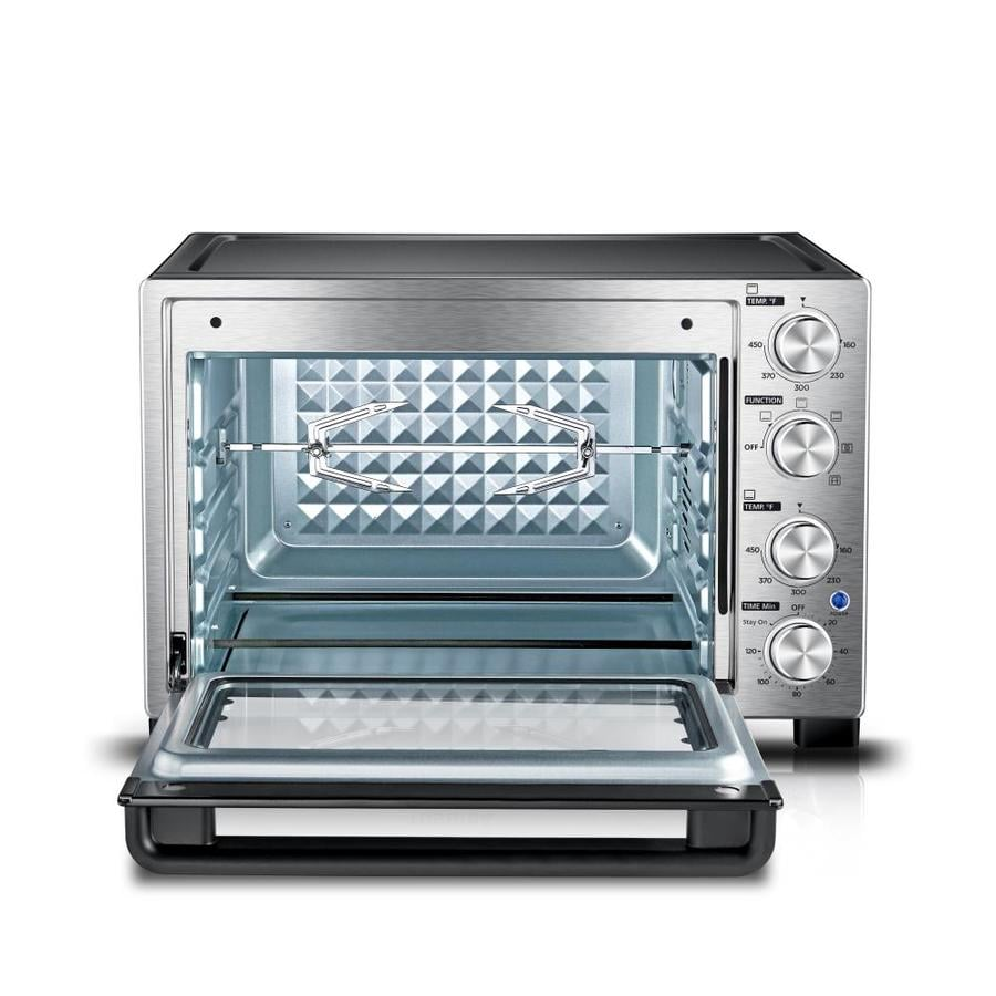 Toshiba 12 slice stainless steel convection toaster oven with rotisserie at for Toaster oven stainless steel interior