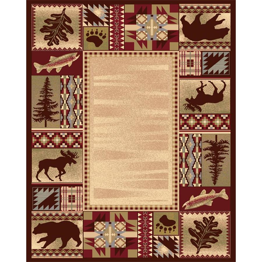 Beautiful Balta American Rhythm Red Rectangular Indoor Machine Made Lodge Area Rug  (Common: 8
