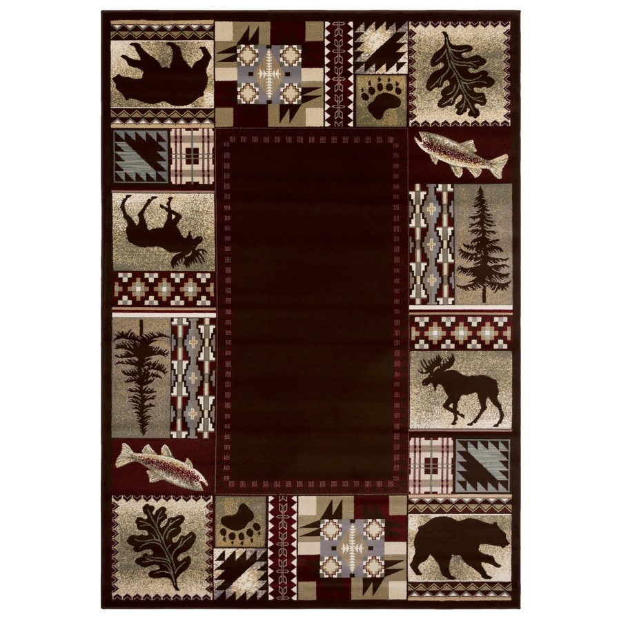 Balta National Preserve Beige Rectangular Indoor Machine-Made Lodge Area Rug (Common: 5 x 7; Actual: 5.3-ft W x 7.6-ft L)