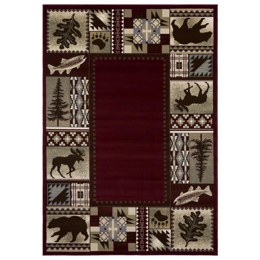 Balta National Preserve Red Rectangular Indoor Machine-Made Lodge Area Rug (Common: 8 x 10; Actual: 7.83-ft W x 10.66-ft L)