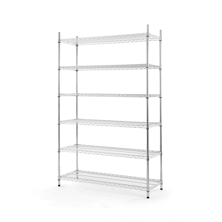 Style Selections 72-in H x 47.7-in W x 18-in D 6-Tier Steel Freestanding Shelving Unit