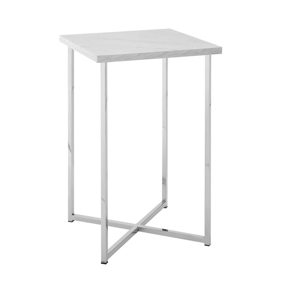 Walker Edison Modern Square Side Table White Marble Top Chrome Legs