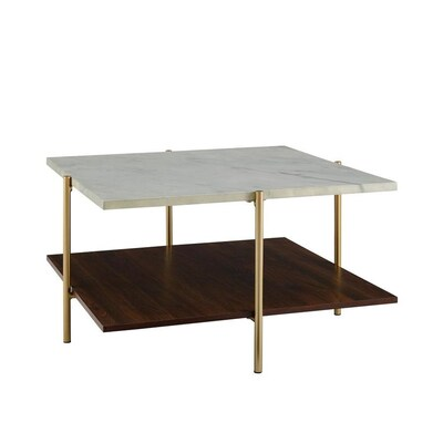 Admirable Walker Edison White Faux Marble Coffee Table At Lowes Com Cjindustries Chair Design For Home Cjindustriesco