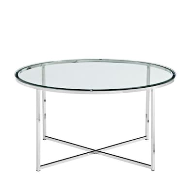 Wondrous Walker Edison Mid Century Modern Coffee Table Glass Chrome Home Interior And Landscaping Oversignezvosmurscom