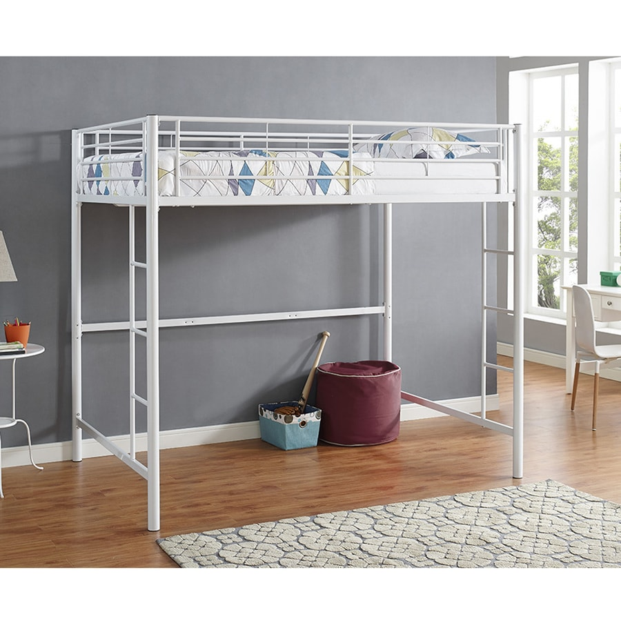 Walker Edison Premium Metal Full Size Loft Bed White At Lowes Com