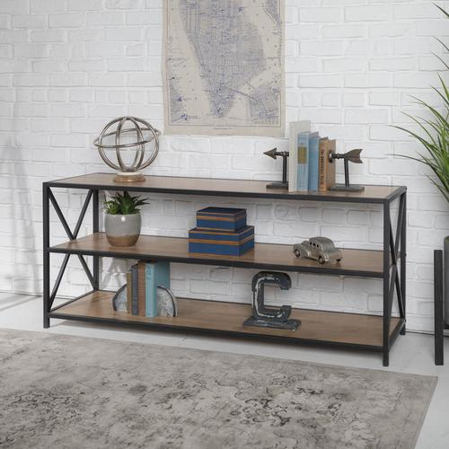 Walker Edison Barnwood Metal 3 Shelf