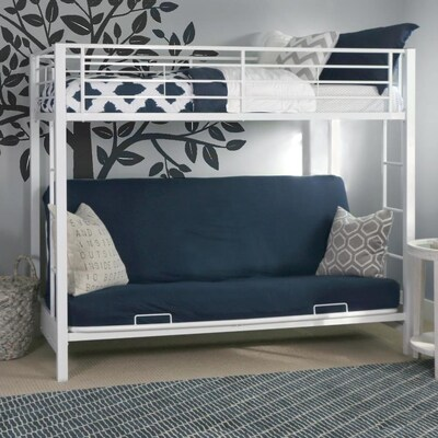 Walker Edison Premium Metal Twin Over Futon Bunk Bed White
