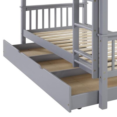 official photos b828c 3d37a Walker Edison Solid Wood Twin Trundle Bed- Grey at Lowes.com