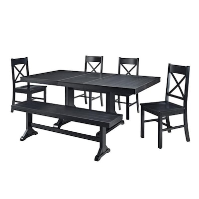 Walker Edison Antique Black Dining Set With Table At Lowes