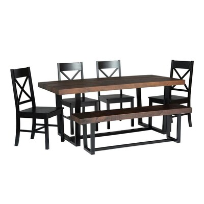 Superb Walker Edison Mahogany Black Dining Set With Table At Lowes Com Theyellowbook Wood Chair Design Ideas Theyellowbookinfo