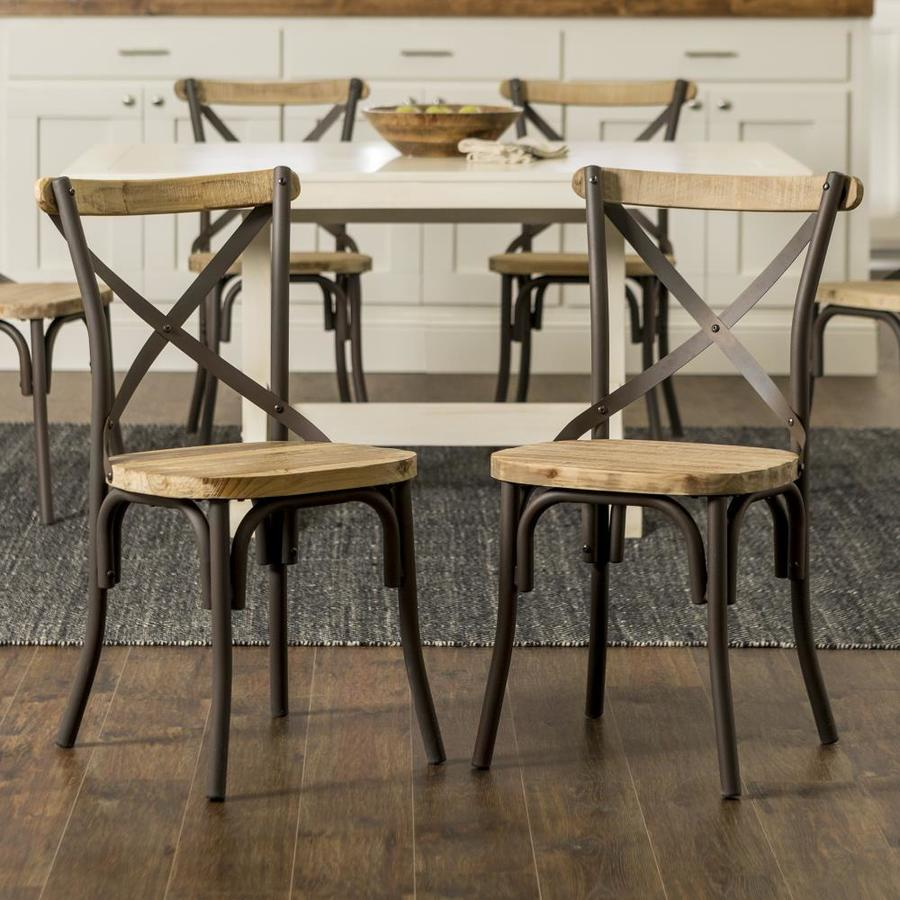 Walker Edison Industrial Wood Metal Dining Chairs Set Of 2 At Lowes Com