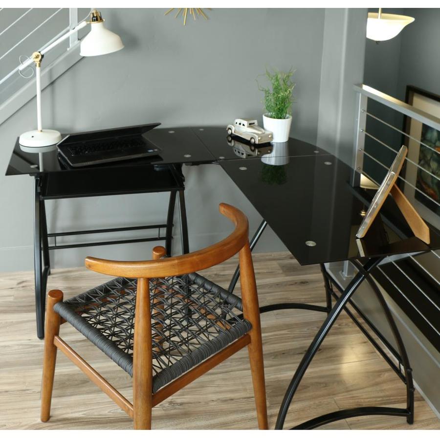 Walker Edison 51u0026#8221; Modern Metal Glass Corner Computer Desk  Black