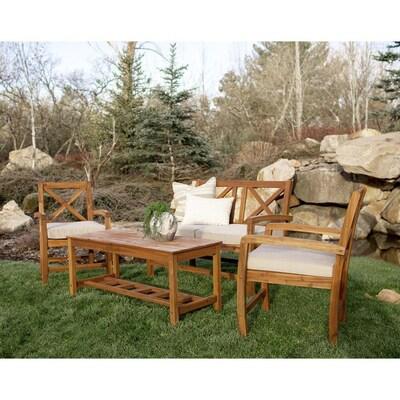 Walker Edison 4 Piece X Back Acacia Wood Outdoor Patio