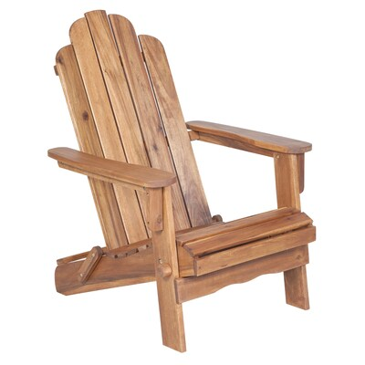 Walker Edison Brown Wood Stationary Adirondack Chair(s) with Brown Slat Seat