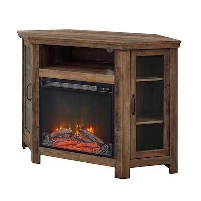 Walker Edison 48 In Wood Corner Fireplace Tv Stand Rustic Oak At