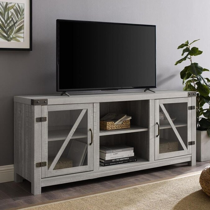 Walker Edison Stone Grey Tv Stand In The Tv Stands Department At Lowes Com