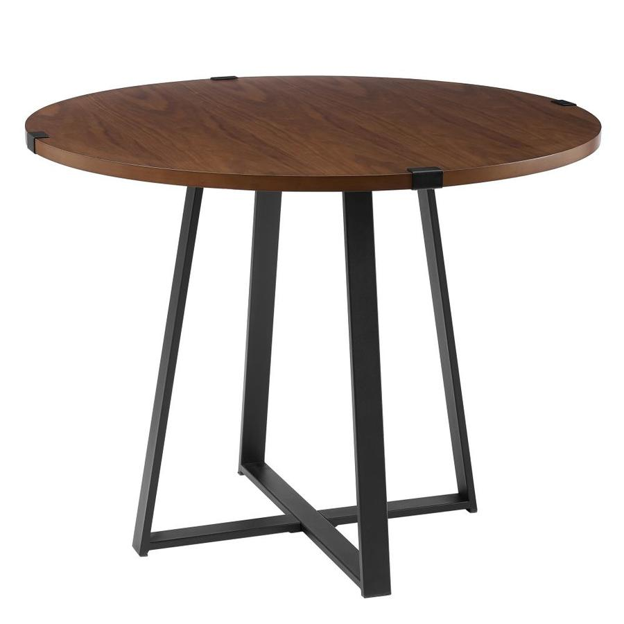 0540acf2bffd Walker Edison 40-in Round Dining Table- Dark Walnut/Black at Lowes.com