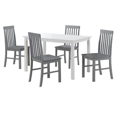 Astonishing Walker Edison 5 Piece Modern Dining Set White Grey At Lowes Com Caraccident5 Cool Chair Designs And Ideas Caraccident5Info