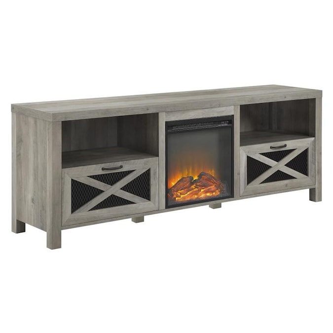 Walker Edison 70 In Rustic Farmhouse Fireplace Tv Stand Grey Wash In The Electric Fireplaces Department At Lowes Com
