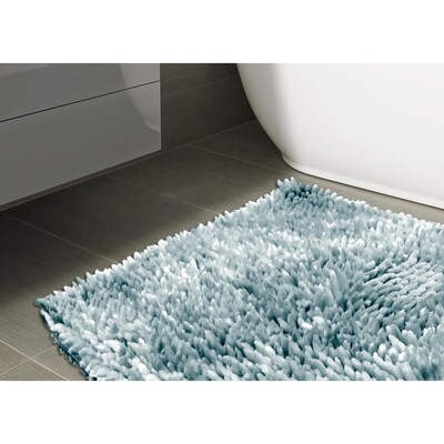 Style Selections Open Stock Rug 20 In X 32 In Light Blue Polyester Bath Rug In The Bathroom Rugs Mats Department At Lowes Com