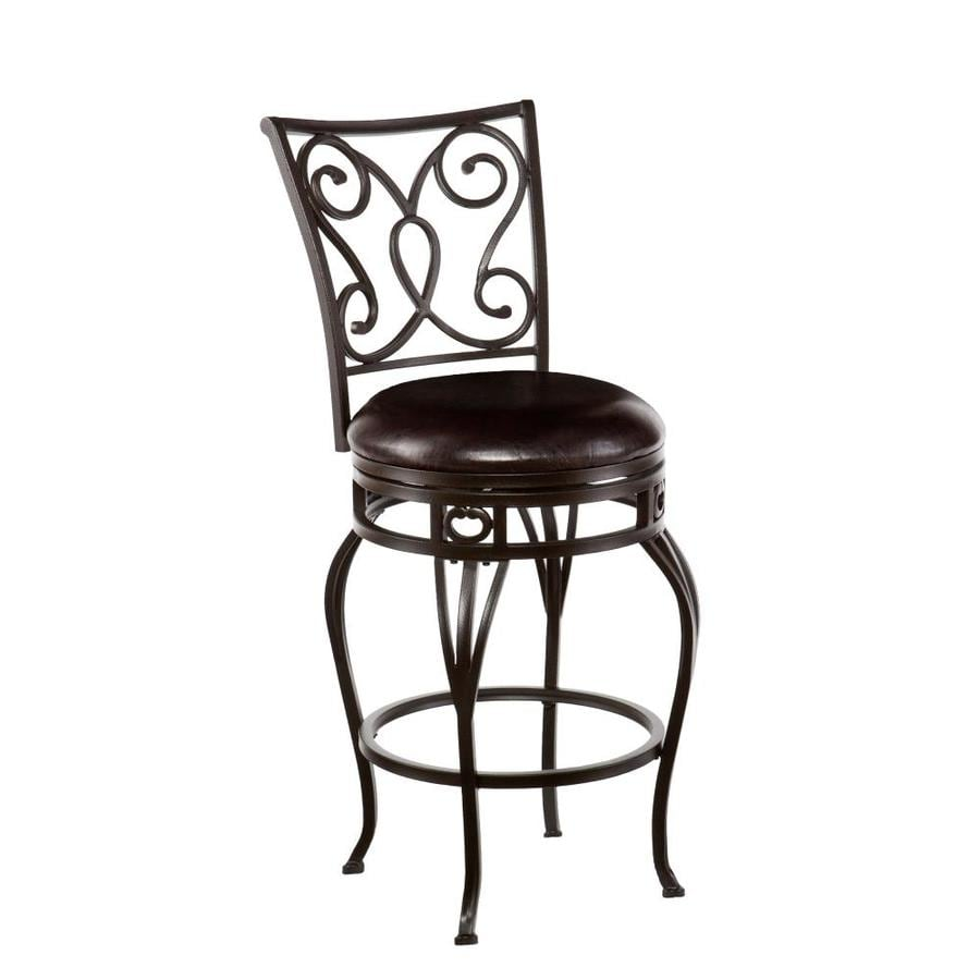 Boston Loft Furnishings Herring Hammered Bronze Counter Height Upholstered Swivel Bar Stool In The Bar Stools Department At Lowes Com