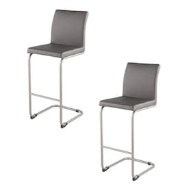 Lumisource Shiraz Walnut Grey Tall Upholstered Swivel Bar Stool In The Bar Stools Department At Lowes Com
