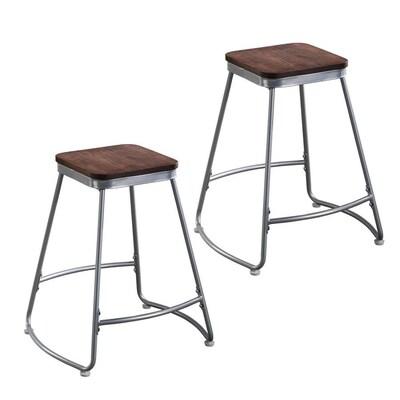 Set of 2 Boston Loft Furnishings Codia Matte Distressed Pine Counter Stool