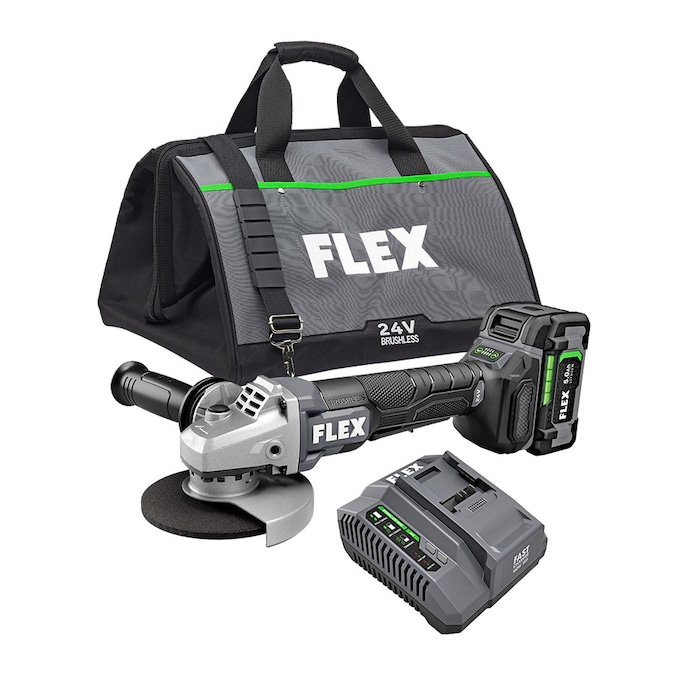 FLEX 5-in 24-Volt Paddle Switch Brushless Cordless Angle Grinder (1-Battery and charger Included)