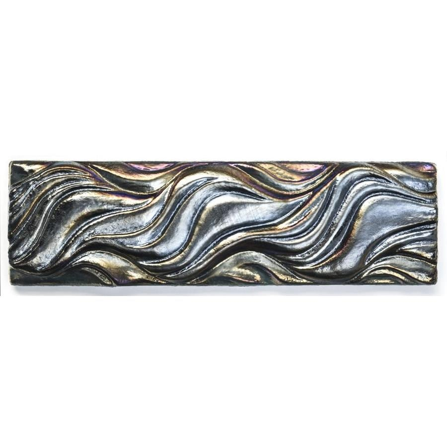 Oceanside Glass & Tile Fire and Form 5-Pack Horizon Green Iridescent Glass Listello Tile (Common: 2-in x 8-in; Actual: 7.75-in x 2.25-in)