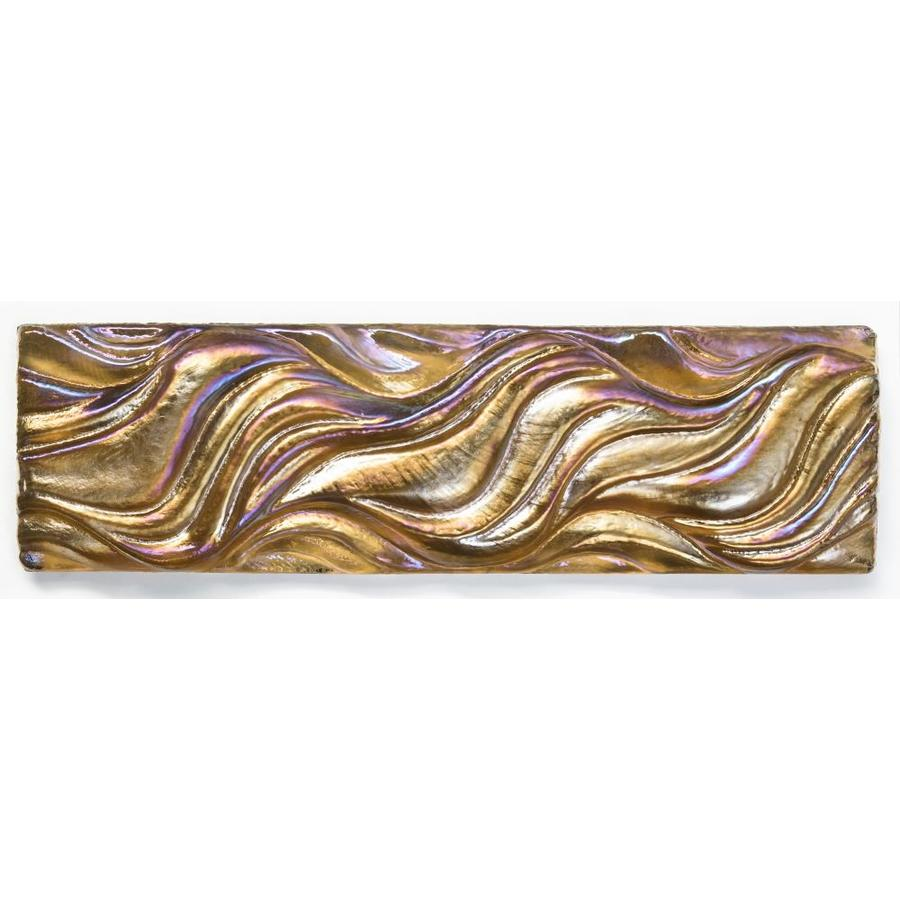 Oceanside Glass & Tile Fire and Form 5-Pack Copper Iridescent Glass Listello Tile (Common: 2-in x 8-in; Actual: 7.75-in x 2.25-in)