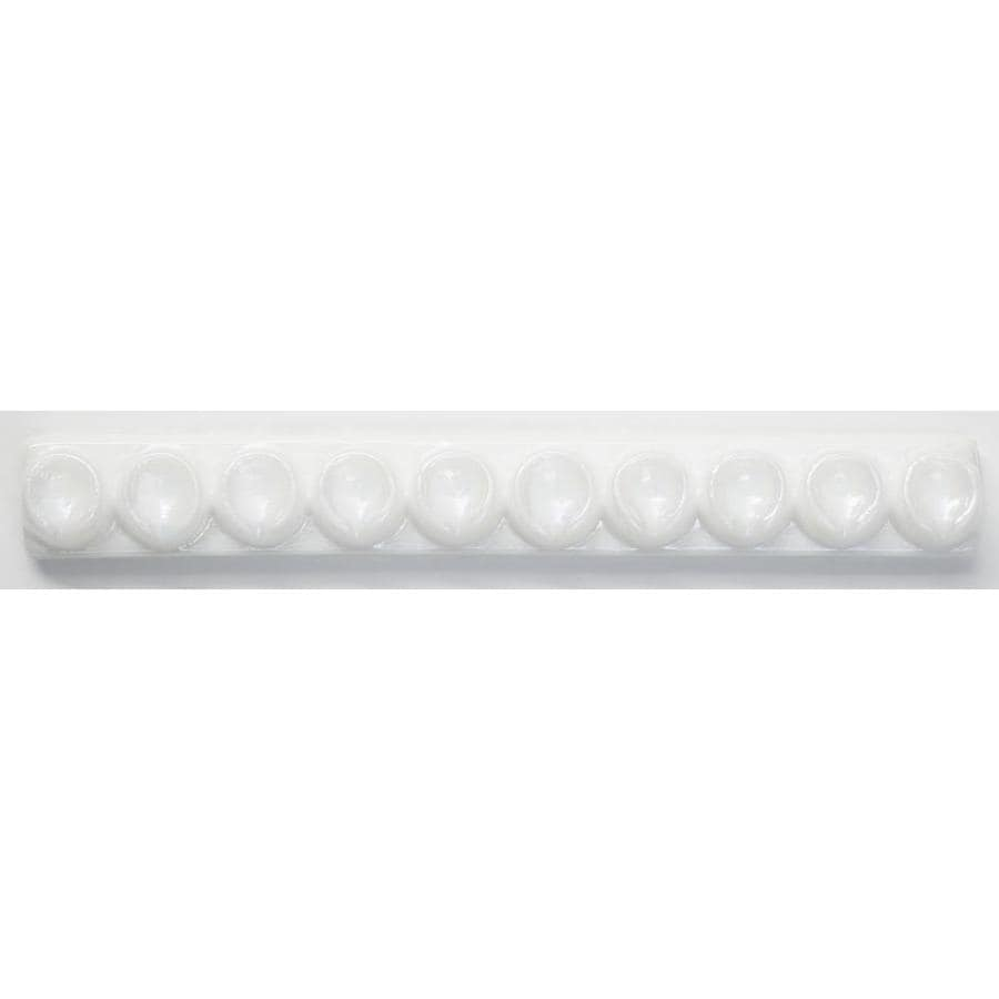 Oceanside Glass & Tile Fire and Form 5-Pack Alabaster White Iridescent Glass Listello Tile (Common: 1-in x 8-in; Actual: 7.875-in x 1-in)