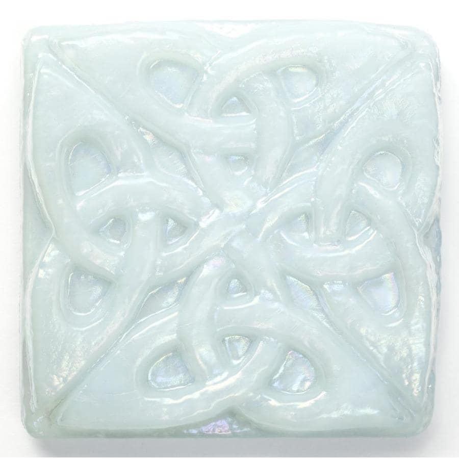 Oceanside Glass & Tile Fire and Form 5-Pack Glacier Blue Iridescent Glass Listello Tile (Common: 3-in x 3-in; Actual: 3-in x 3-in)