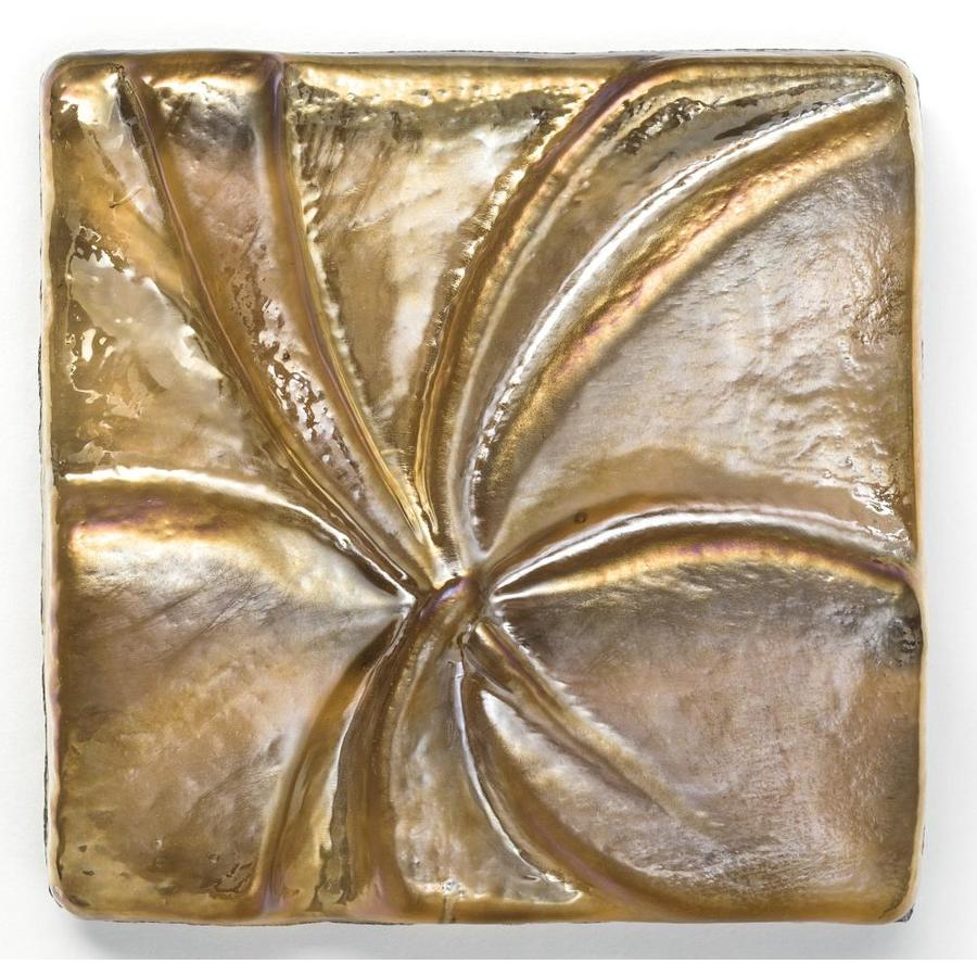 Oceanside Glass & Tile Fire and Form 5-Pack Copper Iridescent Glass Listello Tile (Common: 3-in x 3-in; Actual: 3-in x 3-in)