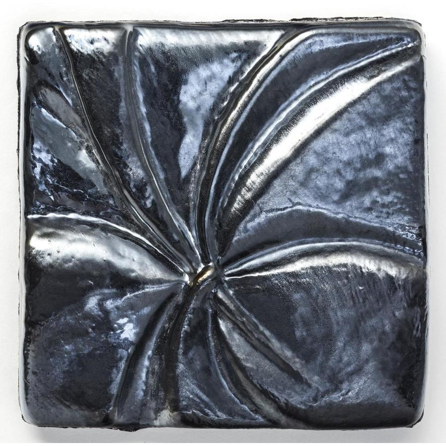 Oceanside Glass & Tile Fire and Form 5-Pack Metallic Pewter Iridescent Glass Listello Tile (Common: 3-in x 3-in; Actual: 3-in x 3-in)