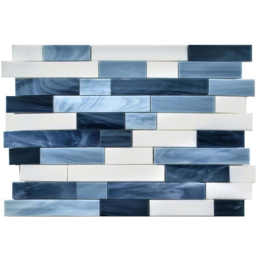 Oceanside Glass & Tile Oceancraft Linear Mosaic Glass Wall Tile (Common: 10-in x 14-in; Actual: 14.68-in x 10.56-in)