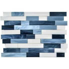 Oceanside Glass & Tile Oceancraft 10-in X 14-in Glass Linear Mosaic Tile (Common: 10-in X 14-in; Actual: 10.56-in X 14.68-in)