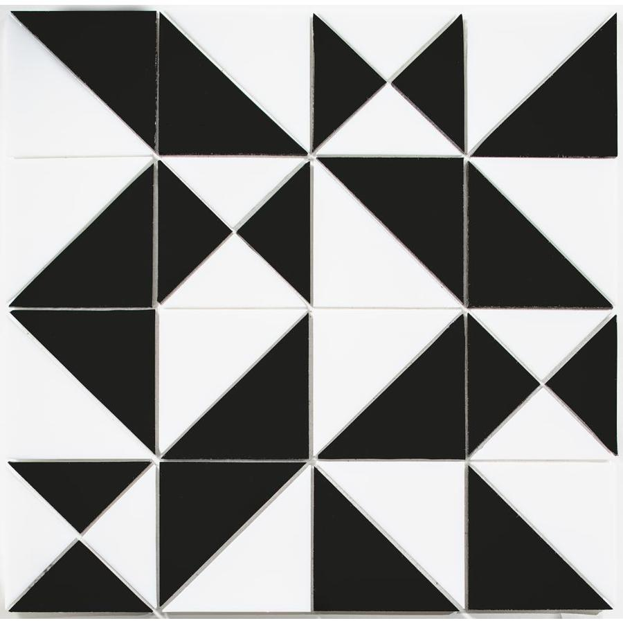Oceanside Gl Tile Oceancraft Bright White And Black Smooth Pinwheel Mosaic Wall