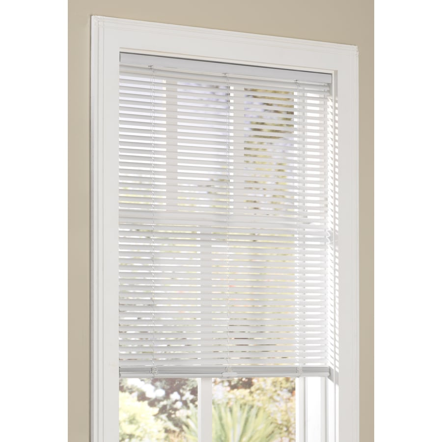 shop allen roth 1 in cordless white vinyl light filtering mini blinds common 27 in actual. Black Bedroom Furniture Sets. Home Design Ideas