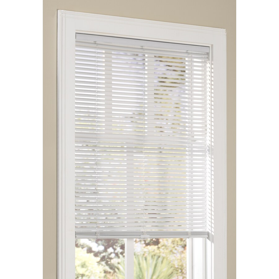 allen + roth 1-in Cordless White Vinyl Light Filtering Mini-Blinds (Common 34-in; Actual: 33.5-in x 64-in)