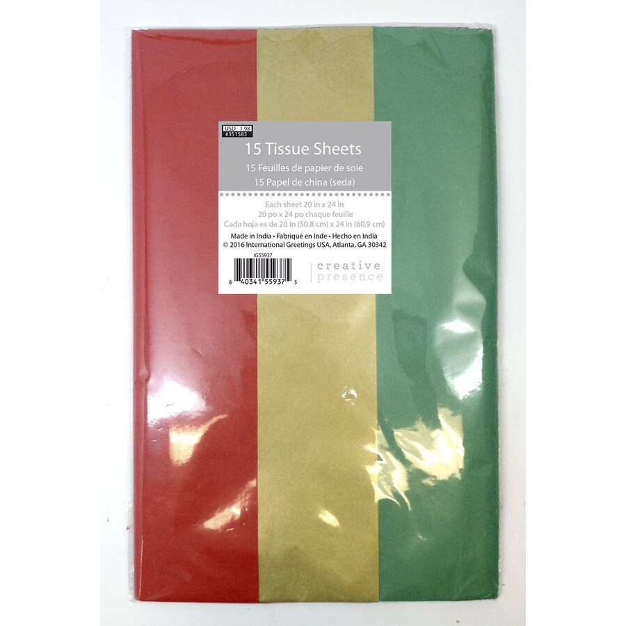 Shop Creative Presence 15 Sheet Christmas Tissue Paper At Lowes