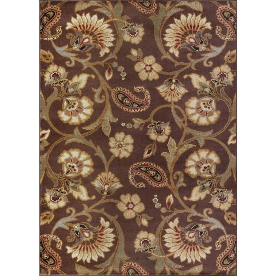 Tayse Elegance Brown Rectangular Indoor Machine-made Area Rug (Common: 5 x 7; Actual: 5-ft W x 7-ft L)