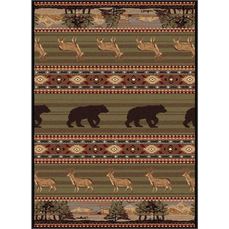 Tayse Nature Green Rectangular Indoor Area Rug (Common: 5 x 7; Actual: 5.25-ft W x 7.25-ft L)