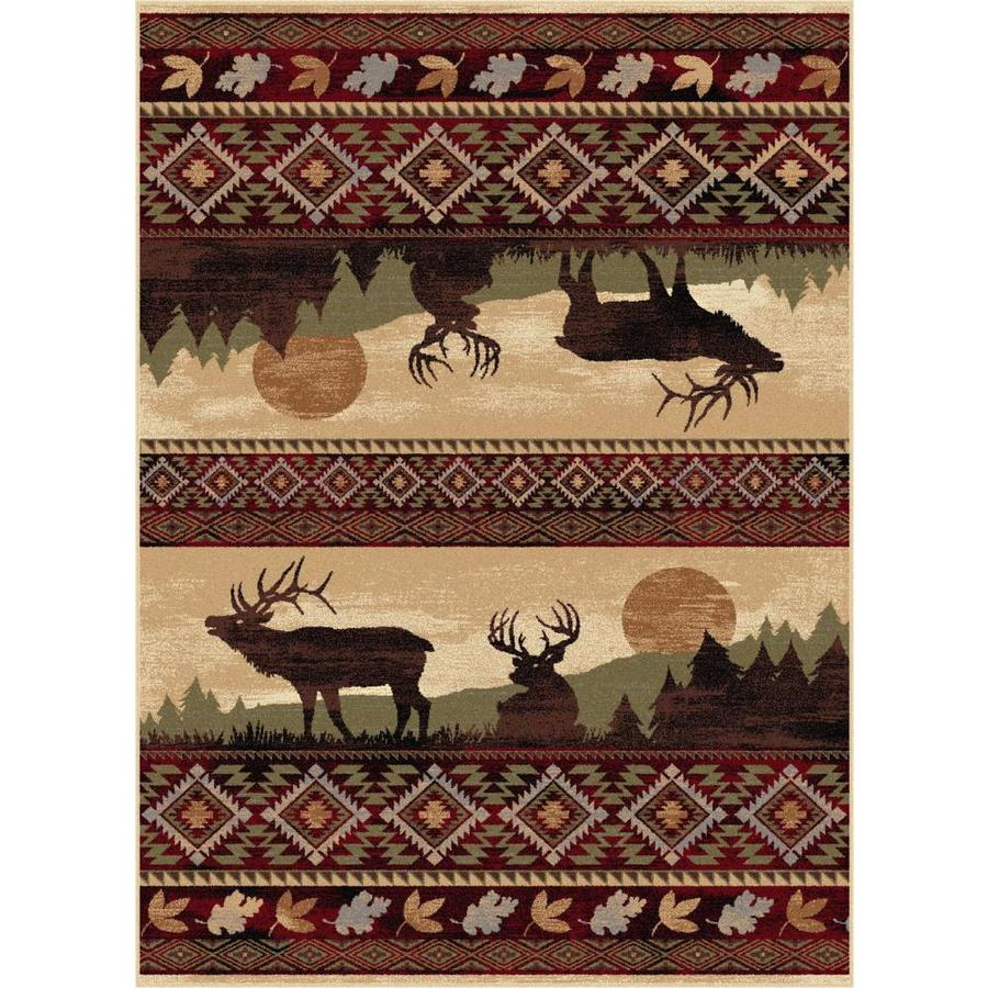 Shop Tayse Nature Red Rectangular Indoor Machine-Made Area Rug (Common: 8 x 10; Actual: 7.83-ft ...