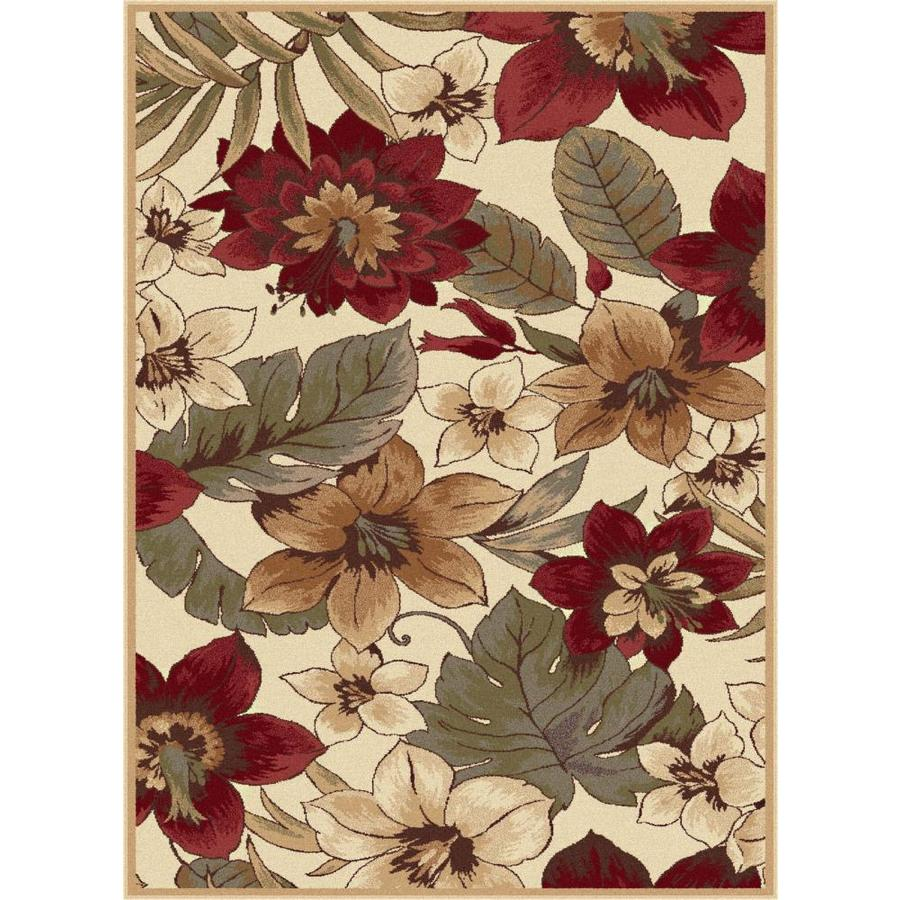 Tayse Impressions Beige Rectangular Indoor Machine-made Area Rug (Common: 5 x 7; Actual: 5.25-ft W x 7.25-ft L)