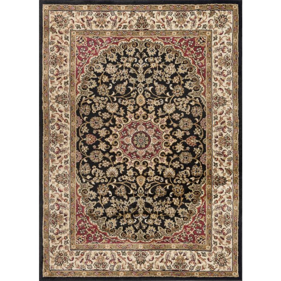 Tayse Elegance Black Rectangular Indoor Area Rug (Common: 9 x 12; Actual: 9.25-ft W x 12.5-ft L)
