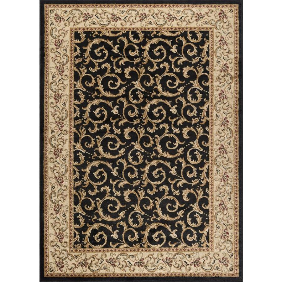 Shop Tayse Elegance Black Rectangular Indoor Machine-Made Area Rug (Common: 5 x 7; Actual: 5-ft ...