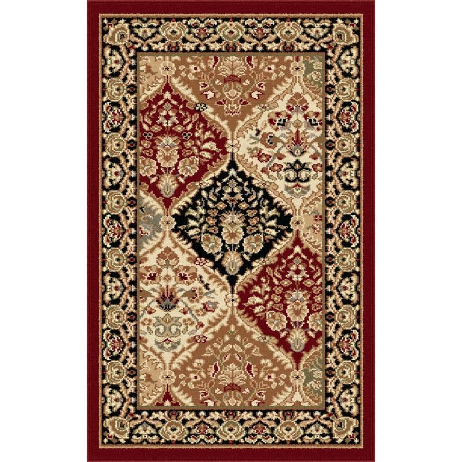 Tayse Sensation Red Rectangular Indoor Machine-Made Throw Rug (Common: 2 x 3; Actual: 2-ft W x 3-ft L)